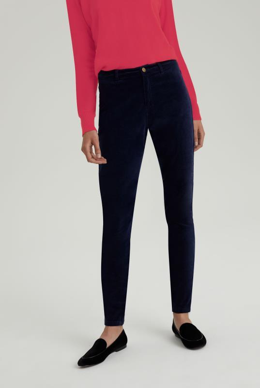 Navy Velveteen Skinny Trouser