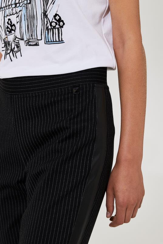 Karl Lagerfeld Paris Legging with Leatherette Tuxedo Stripe