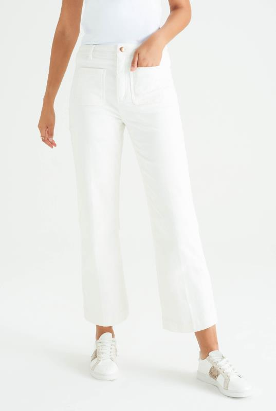 White Cord Flare Ankle Length Trousers