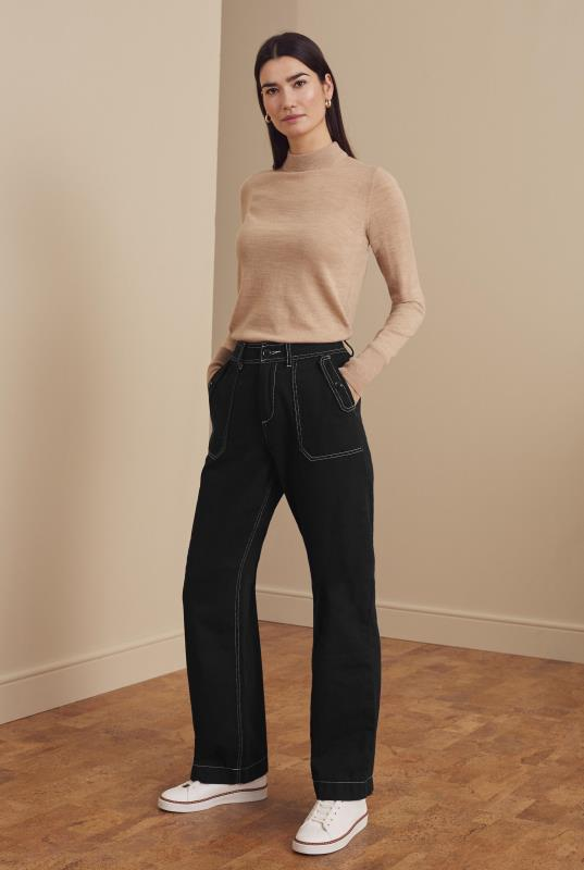 Tall Trousers Black Cotton Twill Wide Leg Trousers