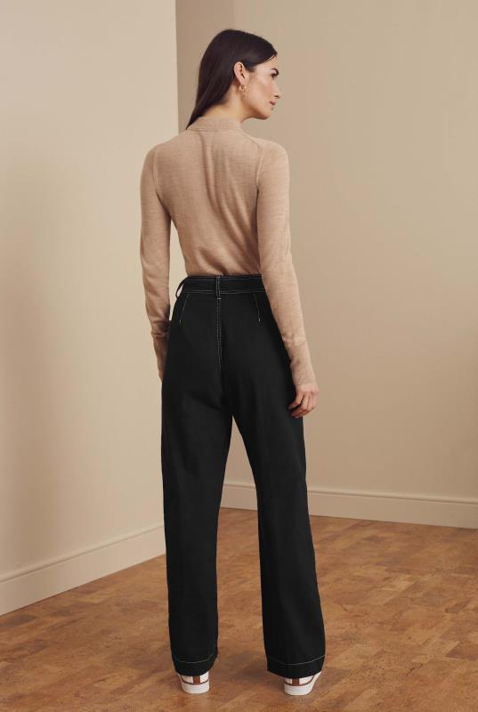 Black Cotton Twill Wide Leg Trousers