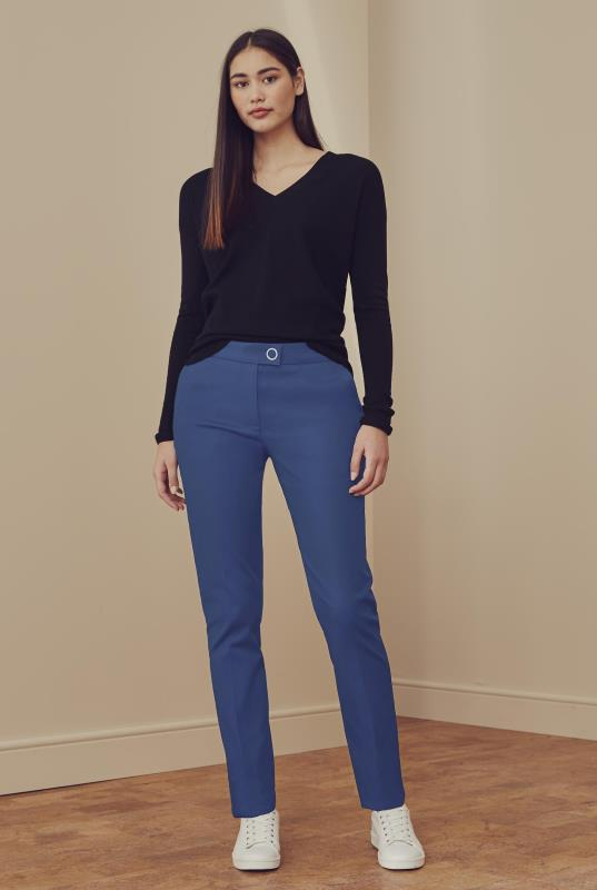 Blue Cotton Sateen Slim Leg Trouser
