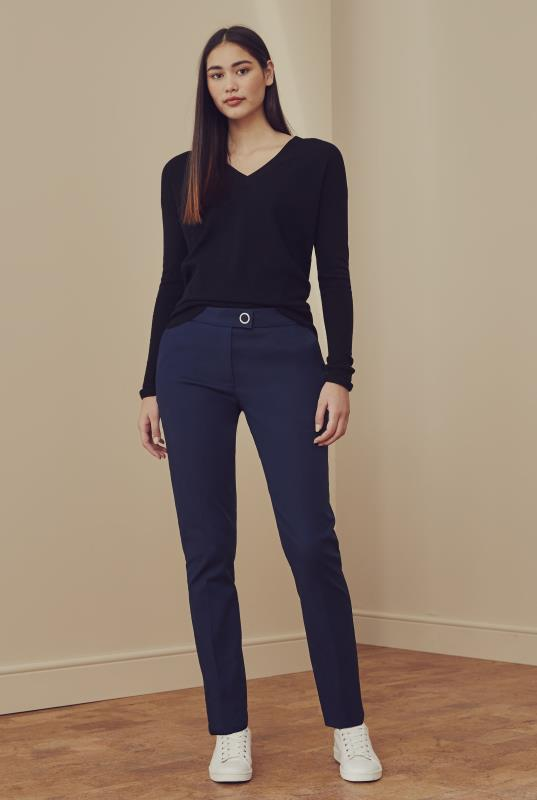 Navy Smart Cotton Sateen Slim Leg Trouser