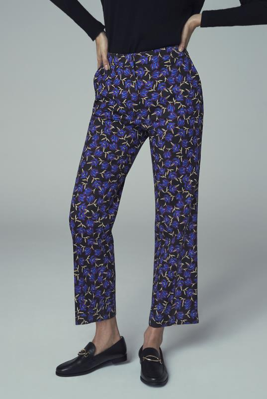 Blue Printed Cotton Sateen Ankle Grazer Trouser