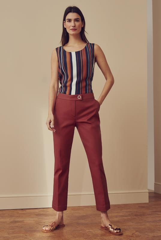 Tall Trousers Brown Smart Sateen Cropped Trousers