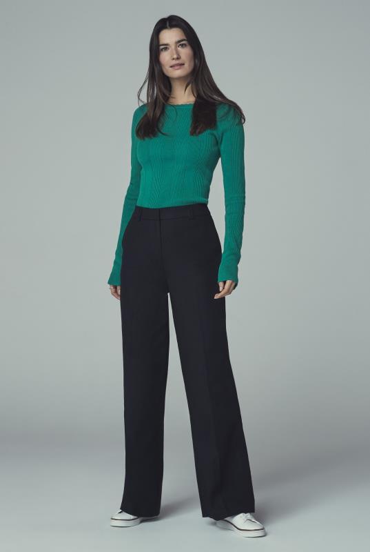 Tall Trousers Smart Cotton Sateen Wide Leg Trouser