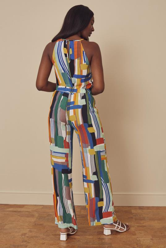 Bright Abstract Print Wide Leg Trouser