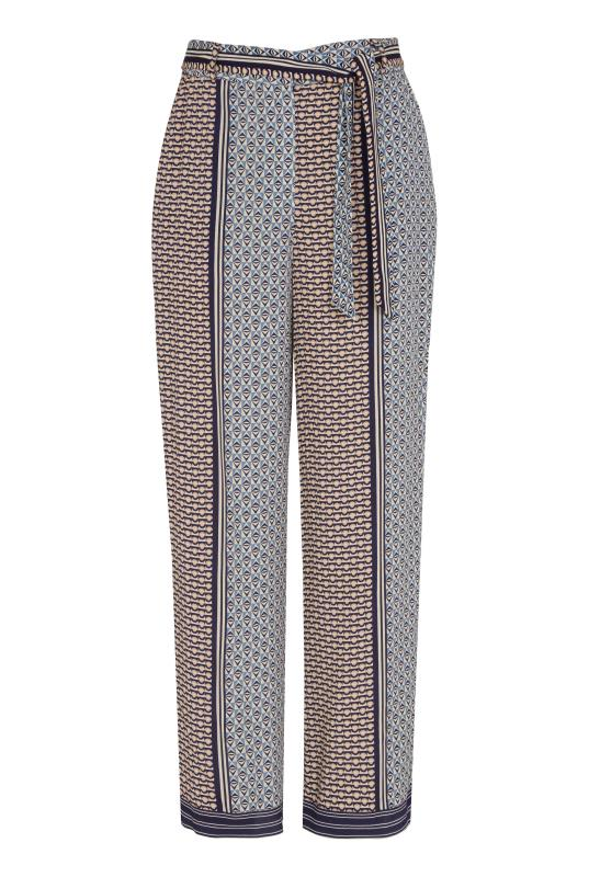 Grey Geometric Print Belted Culottes