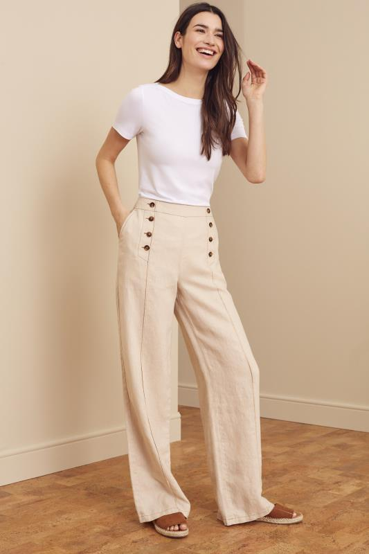 Stone Formal Linen Wide Leg Trouser