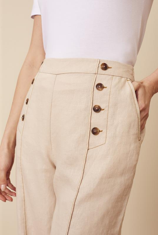 Stone Formal Linen Wide Leg Trouser