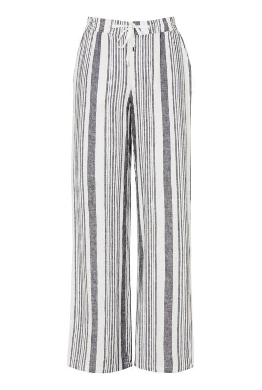 Stripe Linen Blend Wide Leg Trouser
