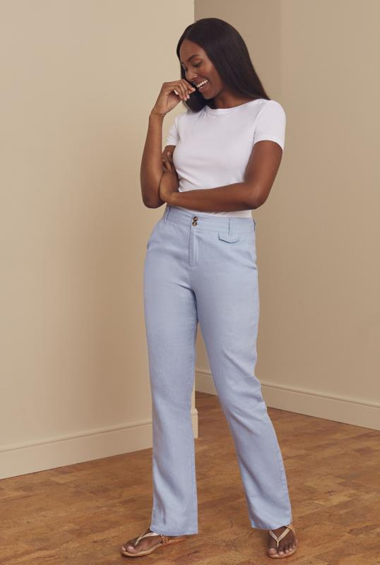 Light Blue Linen Straight Leg Trousers
