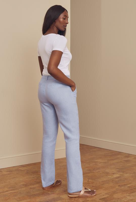 Light Blue Linen Straight Leg Trousers