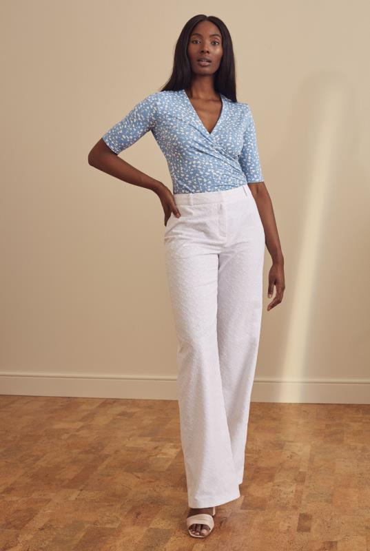 White Broderie Anglaise Wide Leg Trousers