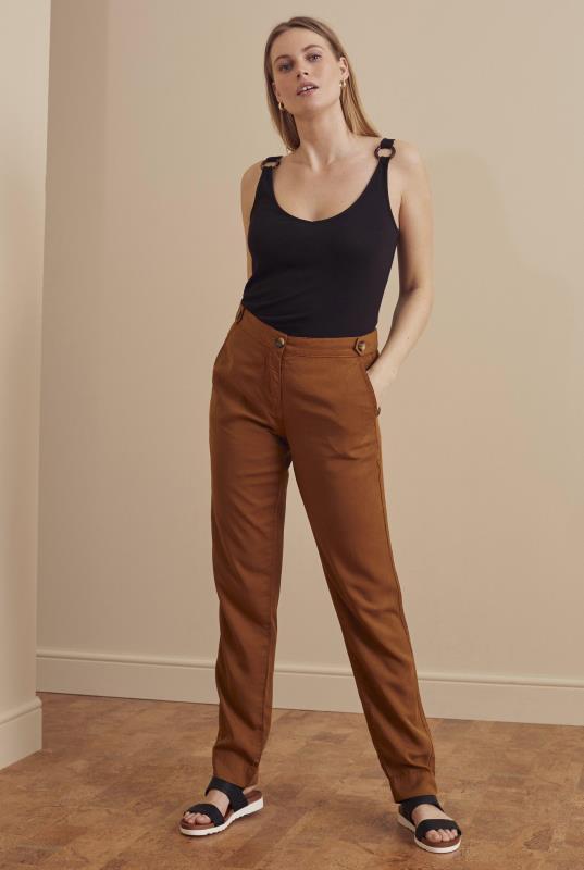 Tall Trousers Tan Side Tab Tencel Trouser