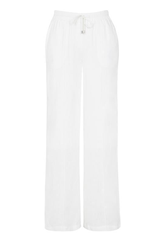 White Linen  Draw Cord Wide Leg Trousers