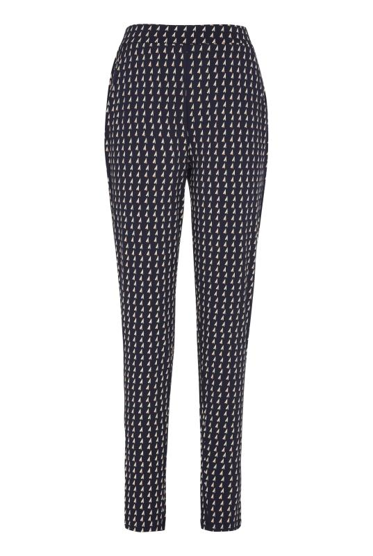 Navy Geo Print Jersey Trousers