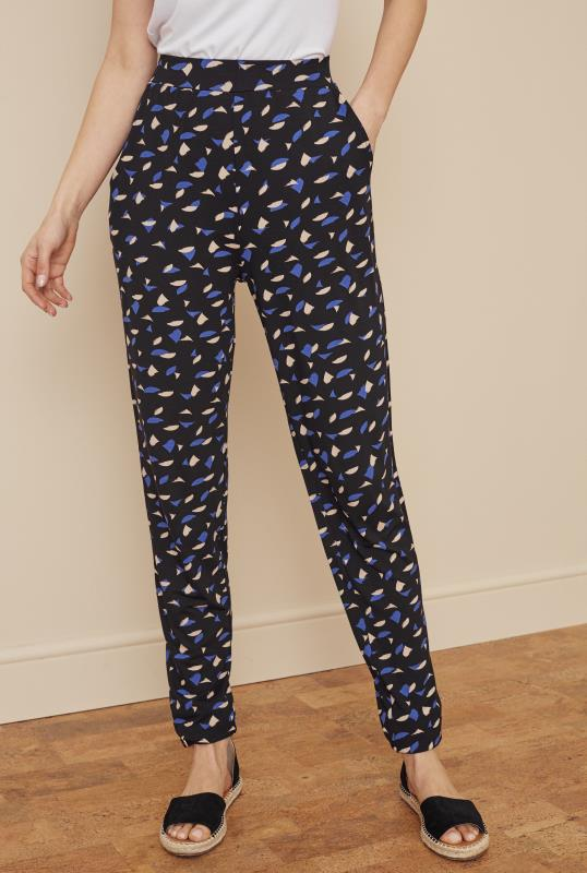 Tall Trousers Blue & Pink Geo Print Jersey Trousers