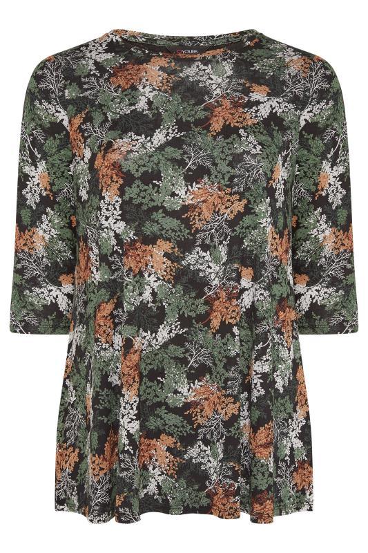 Plus Size  Black 3/4 Length Sleeve Floral Top