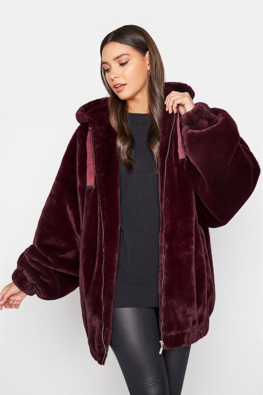 LTS Wine Red Oversized Faux Fur Jacket_A.jpg