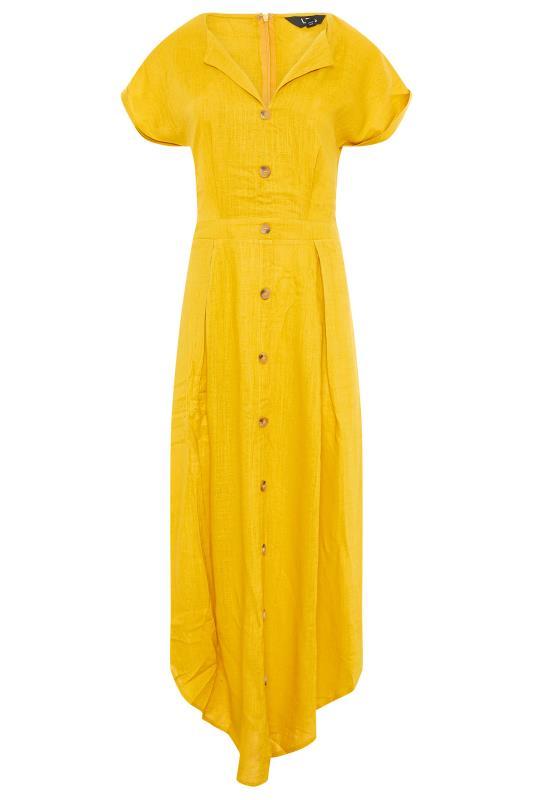 LTS Yellow Linen Blend Button Front Tulip Dress_F.jpg