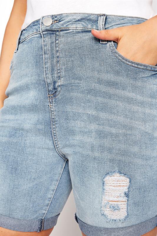 LIMITED COLLECTION Bleach Blue Distressed Denim Shorts_D.jpg