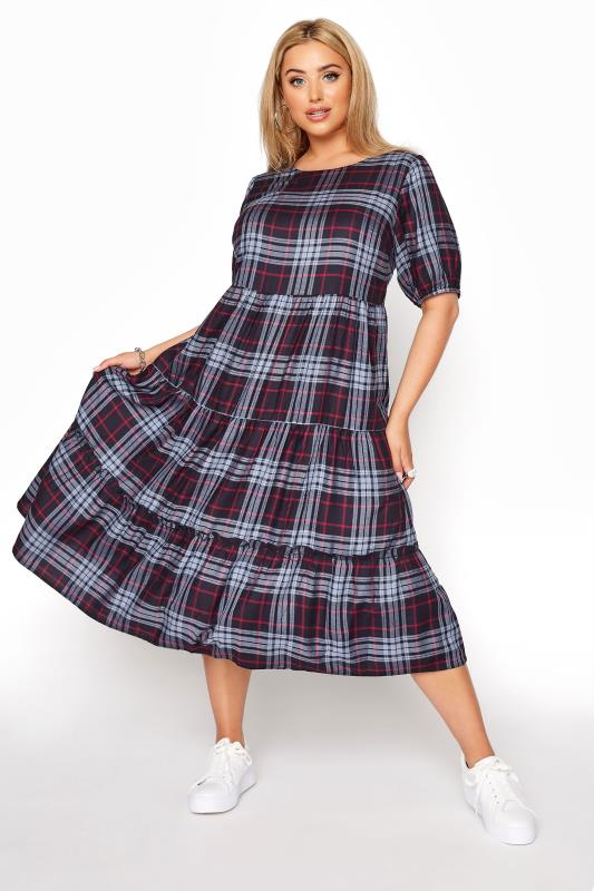 Navy Plaid Puff Sleeve Smock Midaxi dress_A.jpg