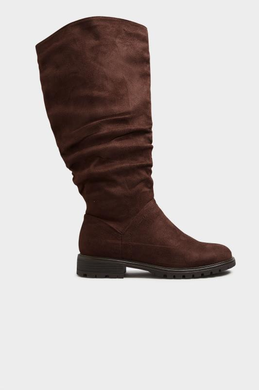 Chocolate Brown Ruched Cleated Boots In Regular Fit_B.jpg