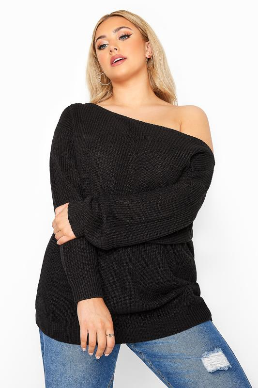 Plus Size  Black Bardot Knitted Jumper