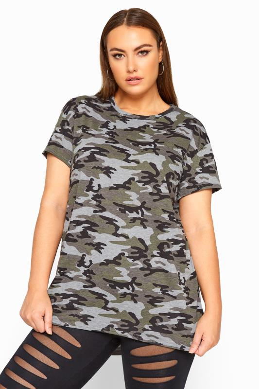Plus Size T-Shirts LIMITED COLLECTION Khaki Jersey Camo Print T-Shirt