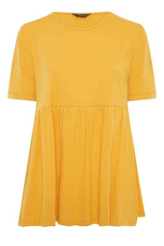 Yellow Peplum Drop Shoulder Top_F.jpg