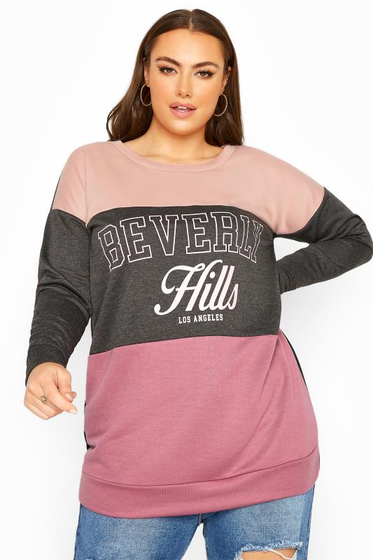 Charcoal Grey & Pink Colour Block Slogan Sweatshirt