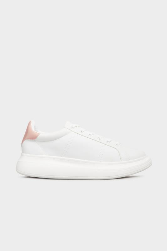 LIMITED COLLECTION White & Pink Vegan Leather Platform Trainers In Wide Fit_A.jpg