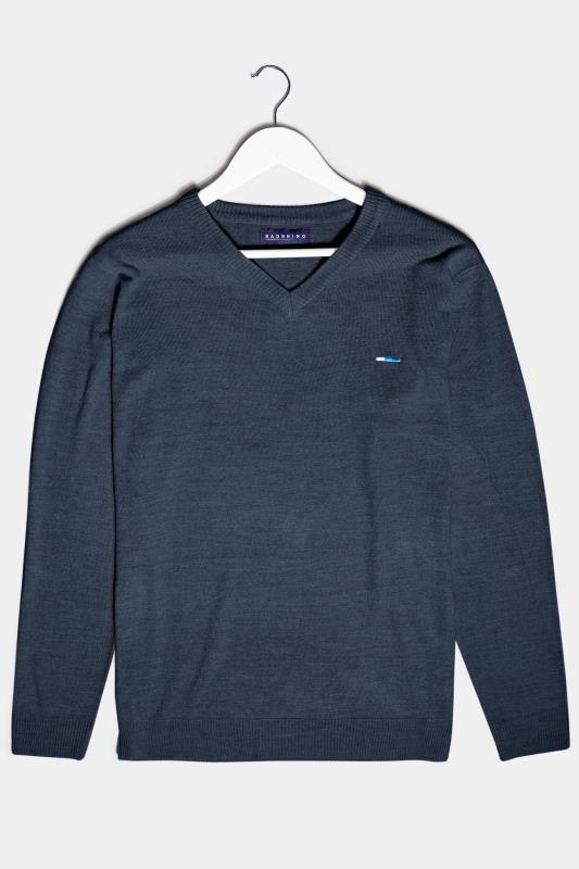 Men's  BadRhino Navy Essential V-Neck Knitted Jumper