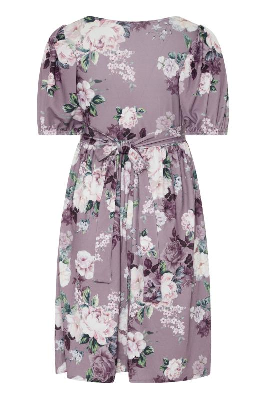 YOURS LONDON Lilac Floral Bow Front Dress_BK.jpg