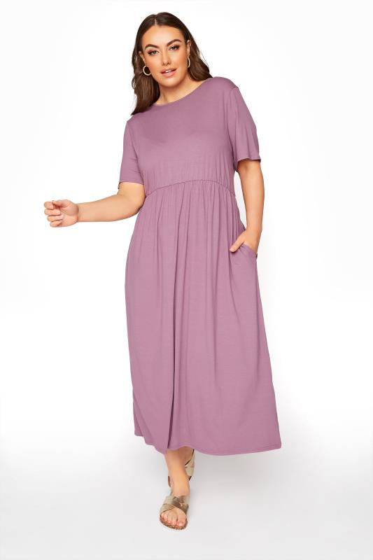 Plus Size  LIMITED COLLECTION Mauve Throw On Maxi Dress