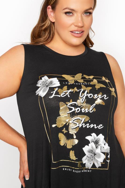 Black 'Let Your Soul Shine' Slogan Vest Top_D.jpg