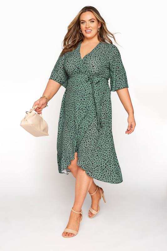YOURS LONDON Green Dalmatian Midi Wrap Dress_B.jpg