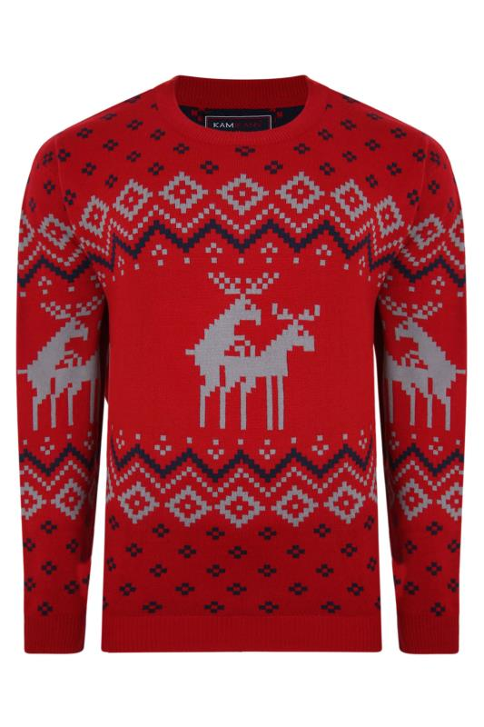 Plus Size  KAM Red Reindeer Knitted Christmas Jumper
