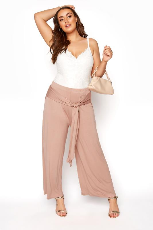 YOURS LONDON Nude Wide Leg Belted Trousers