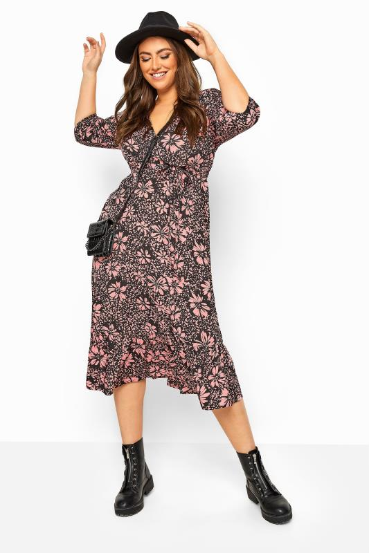 Plus Size Floral Dresses LIMITED COLLECTION Pink Floral Frill Hem Wrap Midi Dress