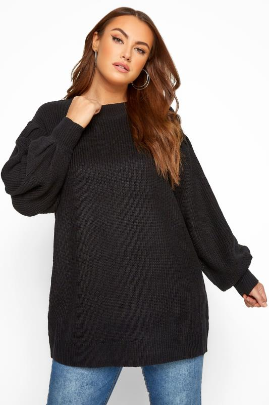 Plus Size Casual / Every Day Black Balloon Sleeve Knitted Jumper