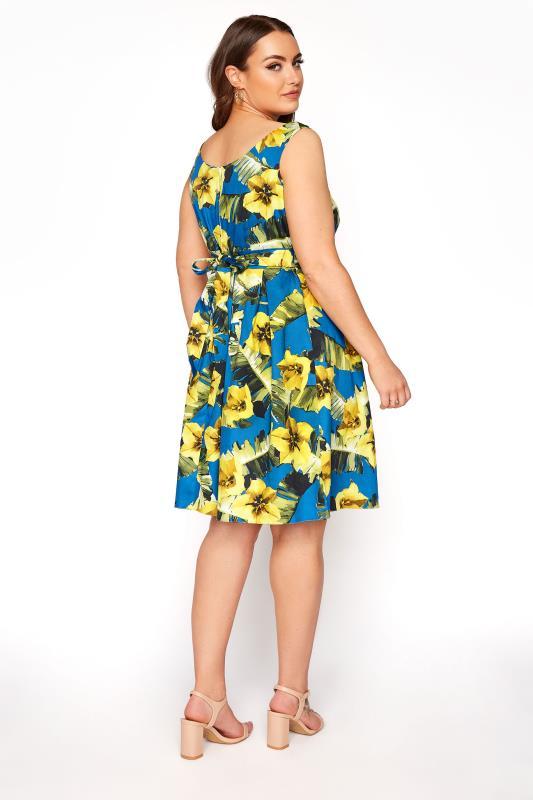 Royal Blue Floral Print Skater Dress_C.jpg