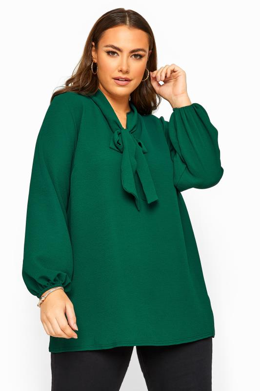 Blouses & Shirts dla puszystych YOURS LONDON Green Bow Blouse