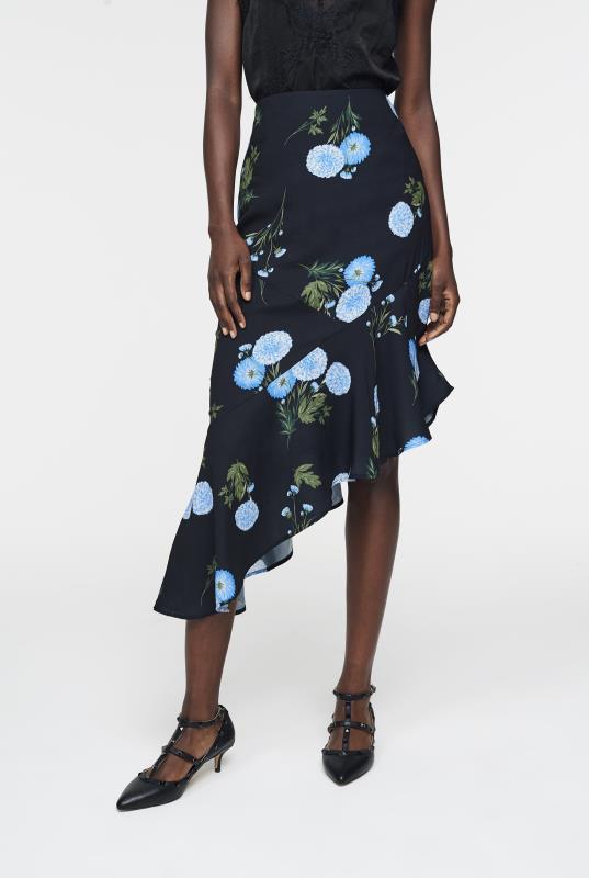 Tall Skirts CURATD. x LTS Asymmetric Ruffle Hem Skirt