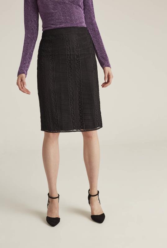 Black Lattice Lace Pencil Skirt