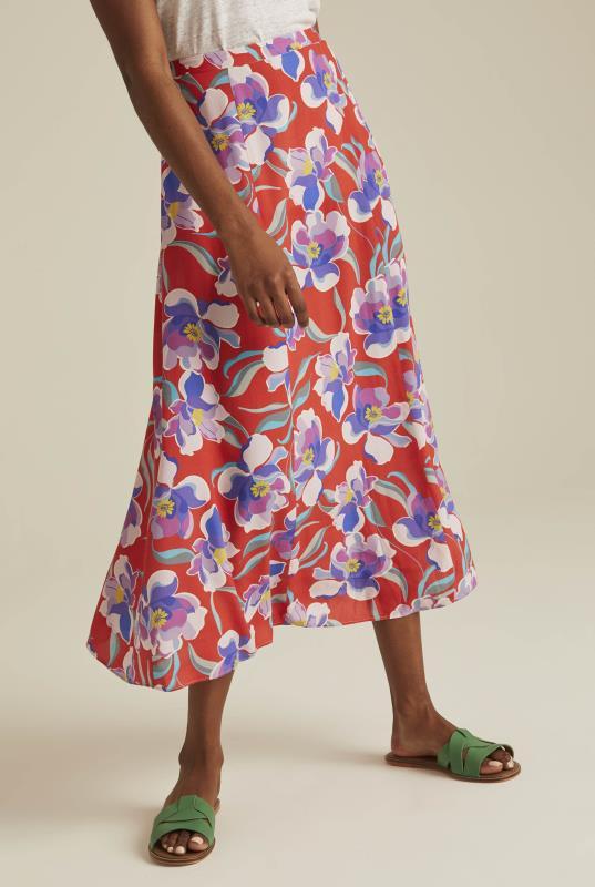 Orange Floral Print Crepe Floaty Skirt
