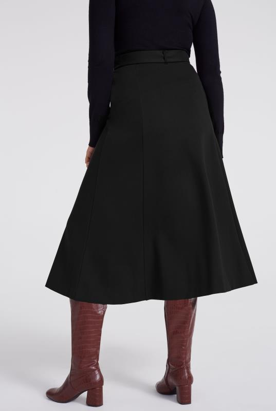 Black Ponte Buckle Midi Skirt