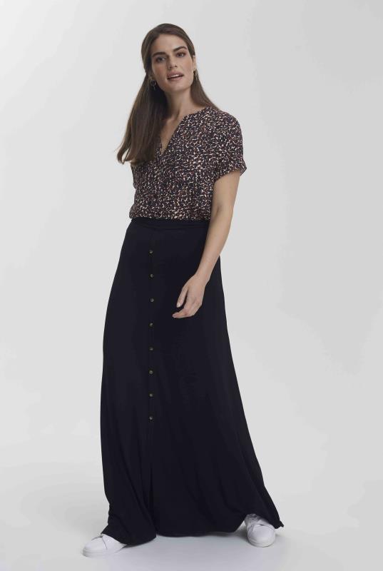 Tall Skirts Black Jersey Button Front Maxi Skirt