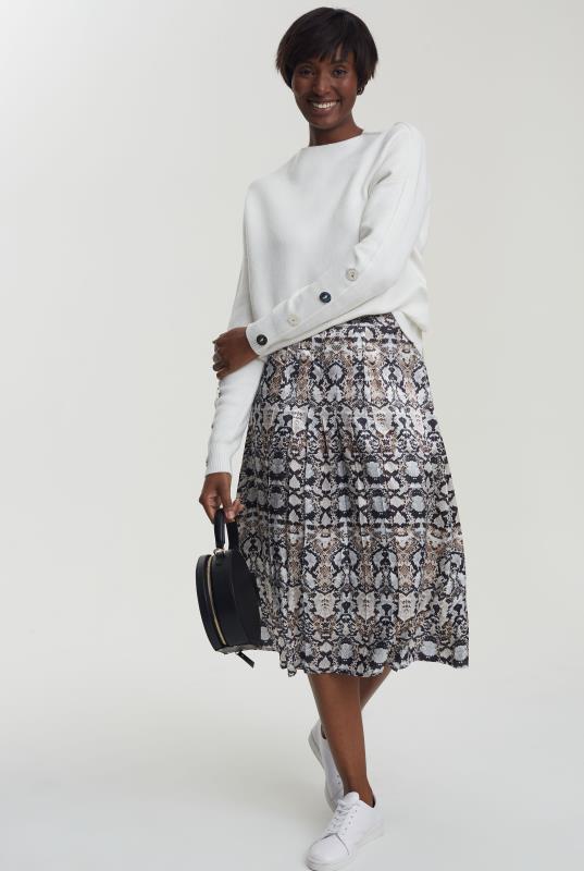Grey Snake Print Pleated Satin Skirt